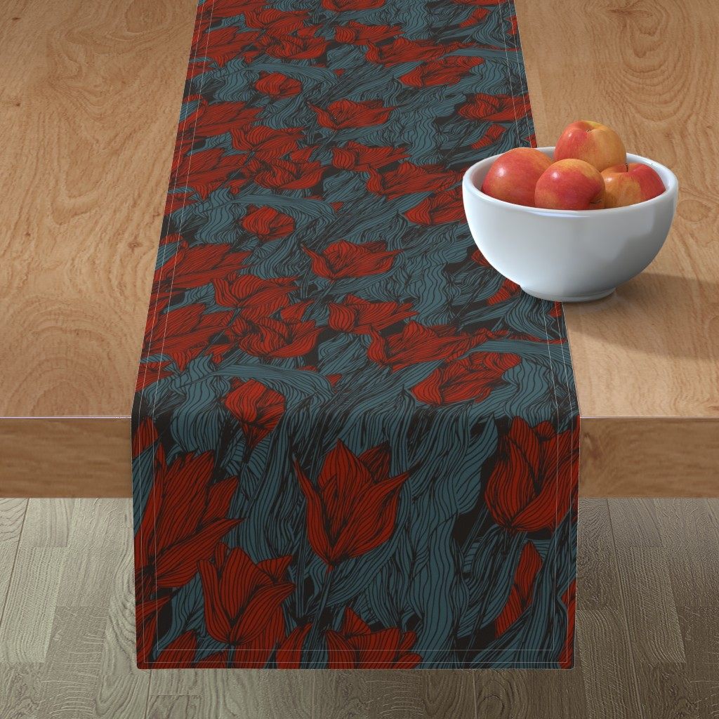 Minorca Table Runner featuring Sombre Tulips by seesawboomerang