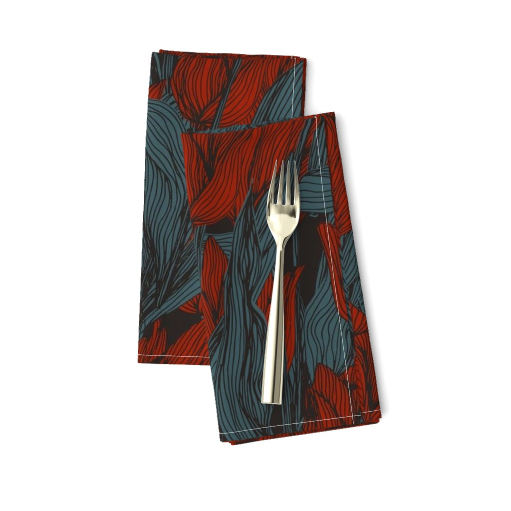 Amarela Dinner Napkins featuring Sombre Tulips by seesawboomerang