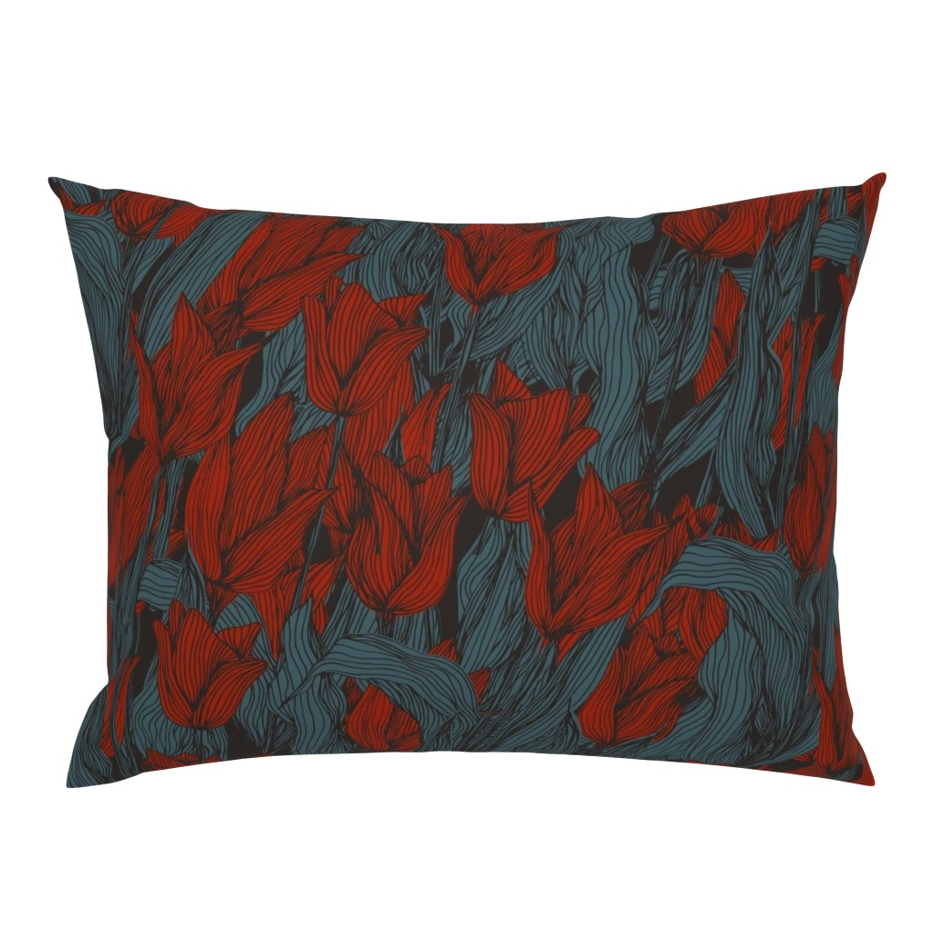 Campine Pillow Sham featuring Sombre Tulips by seesawboomerang