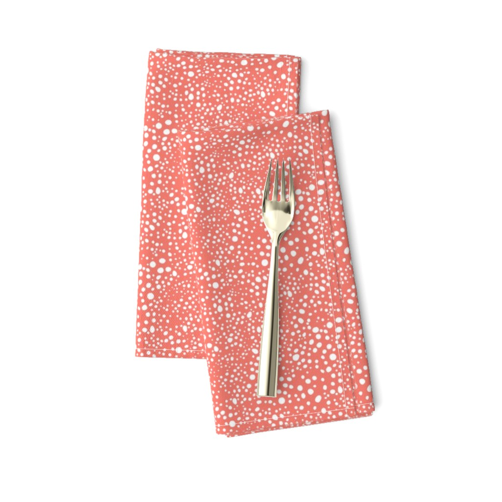 Amarela Dinner Napkins featuring Pebbles - Coral and White by hettiejoan