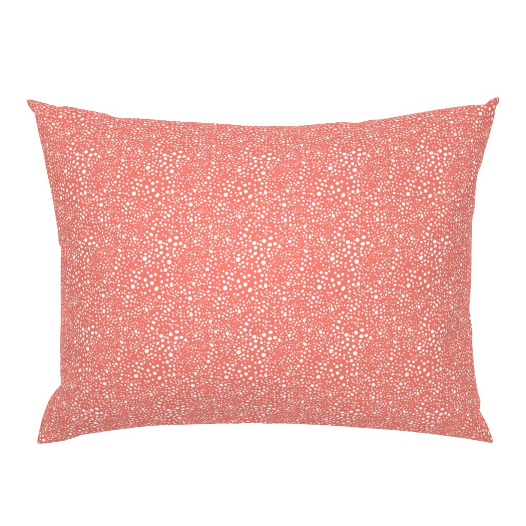 Campine Pillow Sham featuring Pebbles - Coral and White by hettiejoan