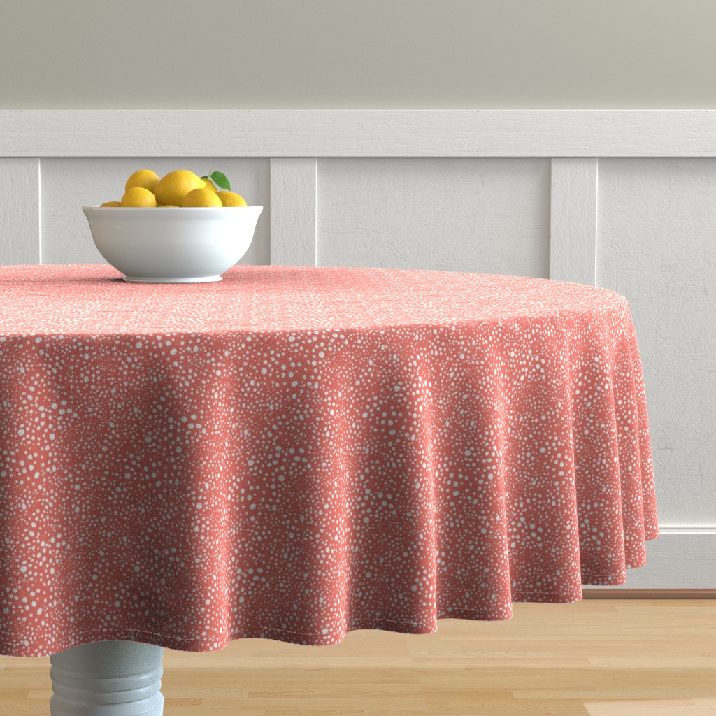 Malay Round Tablecloth featuring Pebbles - Coral and White by hettiejoan