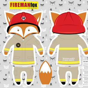 Firefighter Fox Cut and Sew Plushie Pillow