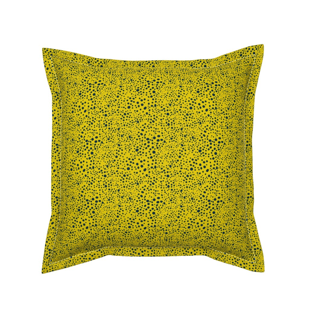 Serama Throw Pillow featuring Pebbles - Mustard with Navy by hettiejoan