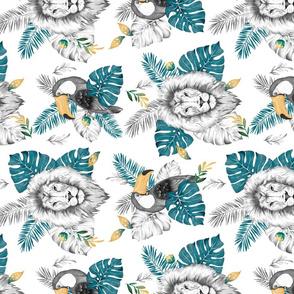 B&W Jungle - white turqouise - rotated