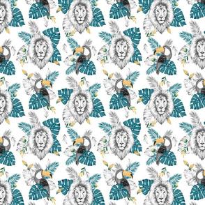 B&W Jungle - white turqouise