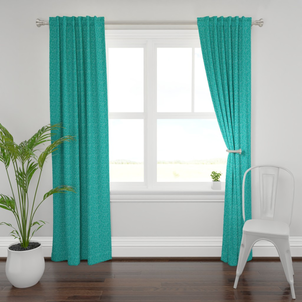 Plymouth Curtain Panel featuring Pebbles - Teal with Mint by hettiejoan