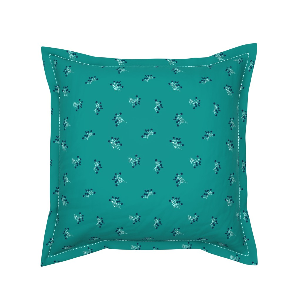 Serama Throw Pillow featuring Berries - Teal with Navy by hettiejoan