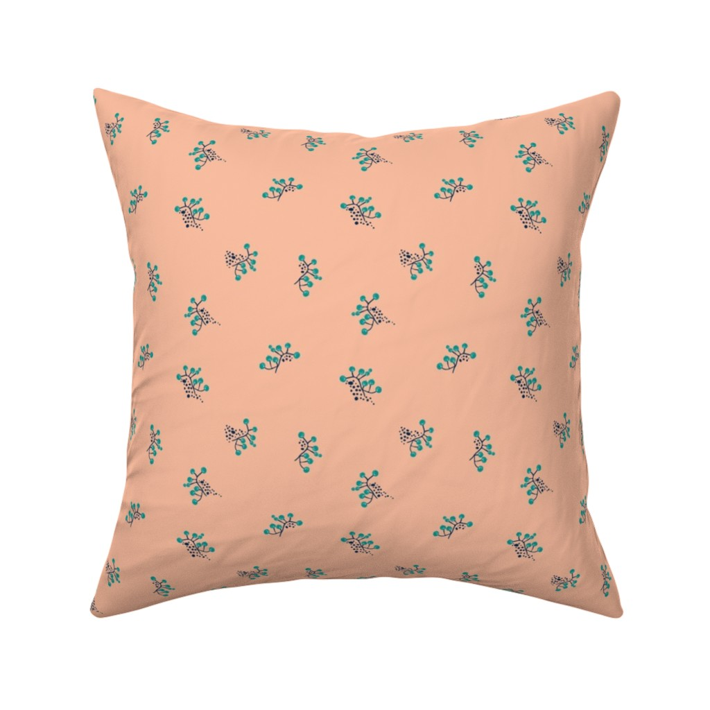 Catalan Throw Pillow featuring Berries - Blush with Teal and Navy by hettiejoan