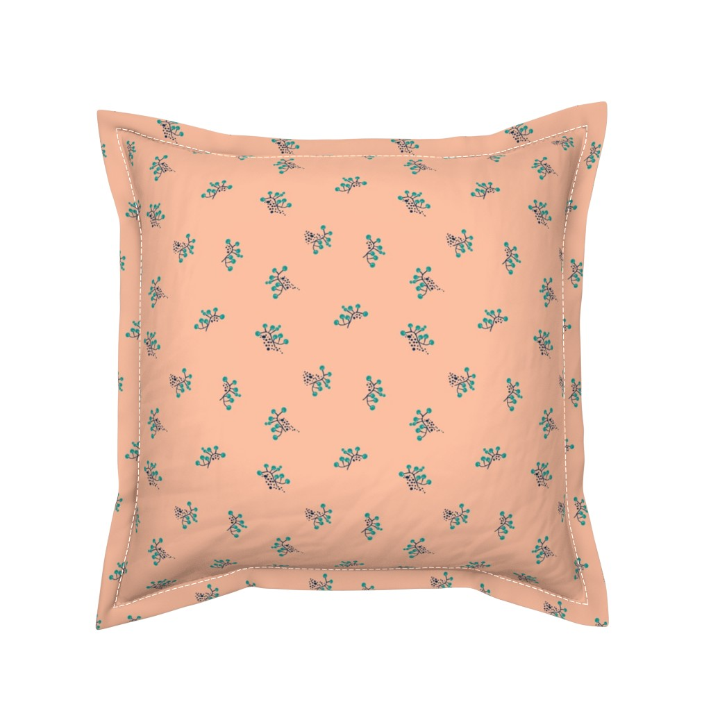 Serama Throw Pillow featuring Berries - Blush with Teal and Navy by hettiejoan