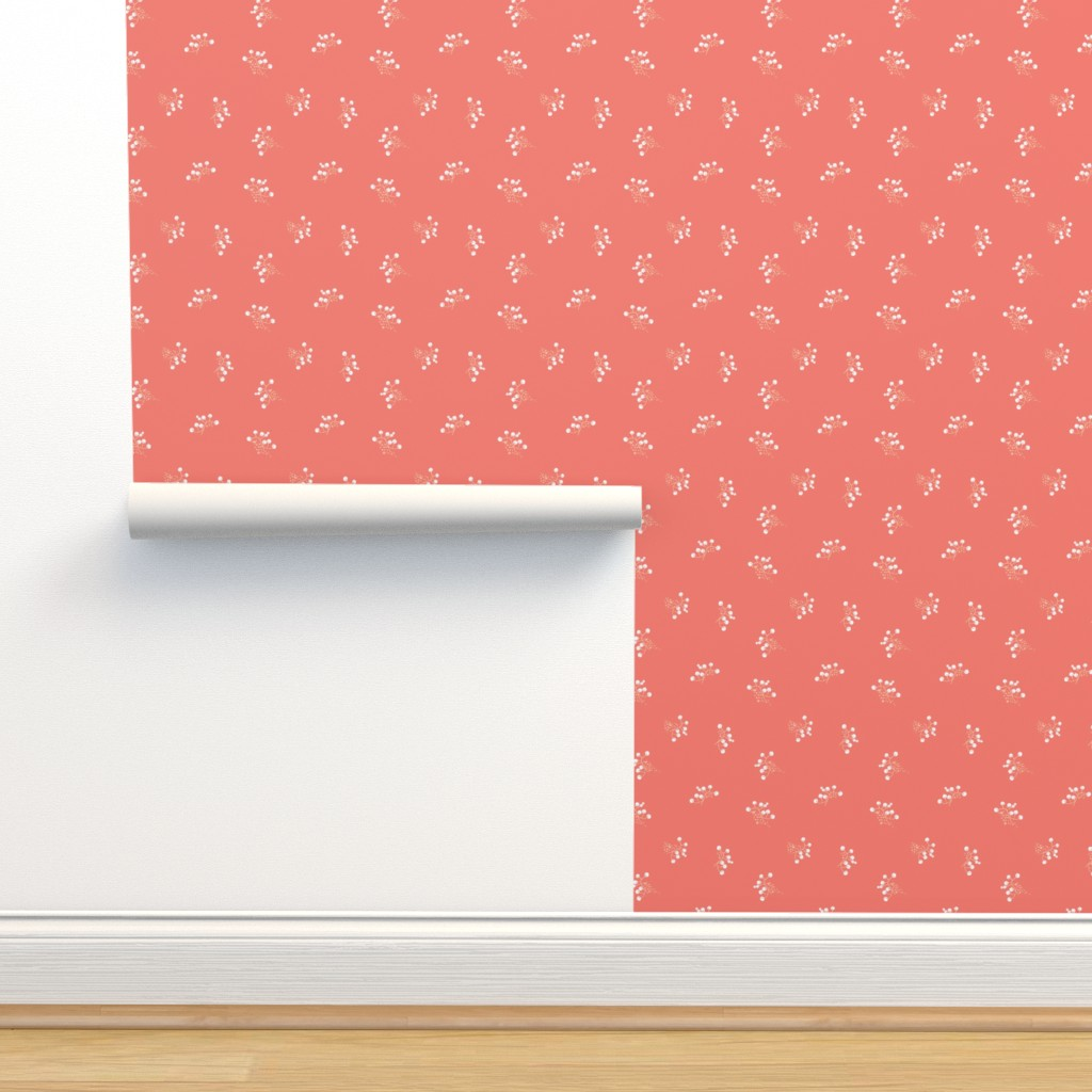Isobar Durable Wallpaper featuring Berries - Coral with White and Blush by hettiejoan