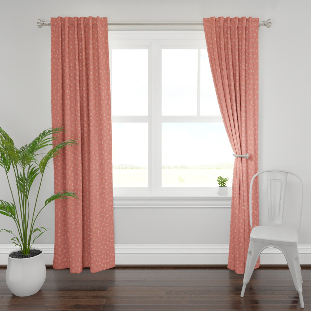 Plymouth Curtain Panel featuring Berries - Coral with White and Blush by hettiejoan