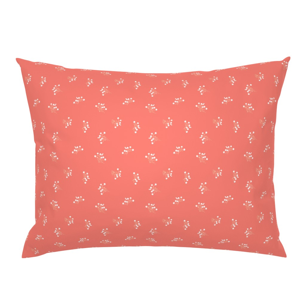 Campine Pillow Sham featuring Berries - Coral with White and Blush by hettiejoan