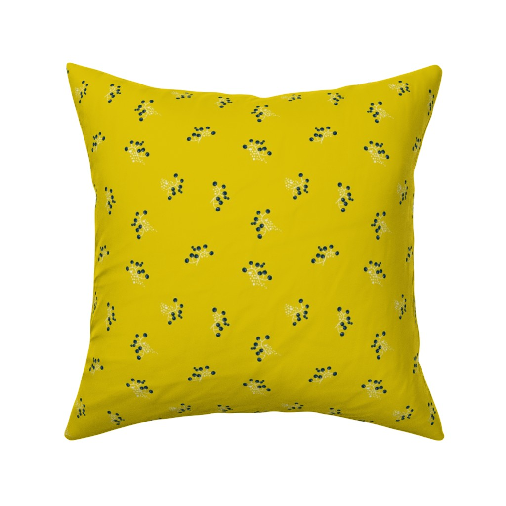 Catalan Throw Pillow featuring Berries - Mustard with Navy and White by hettiejoan
