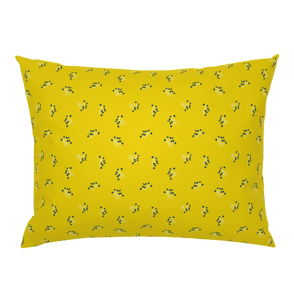 Campine Pillow Sham featuring Berries - Mustard with Navy and White by hettiejoan