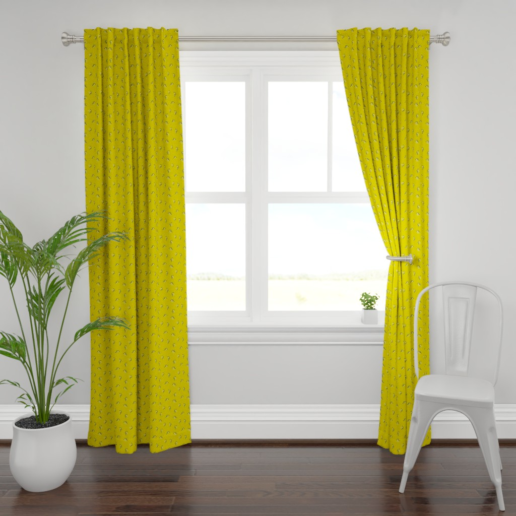 Plymouth Curtain Panel featuring Berries - Mustard with Navy and White by hettiejoan