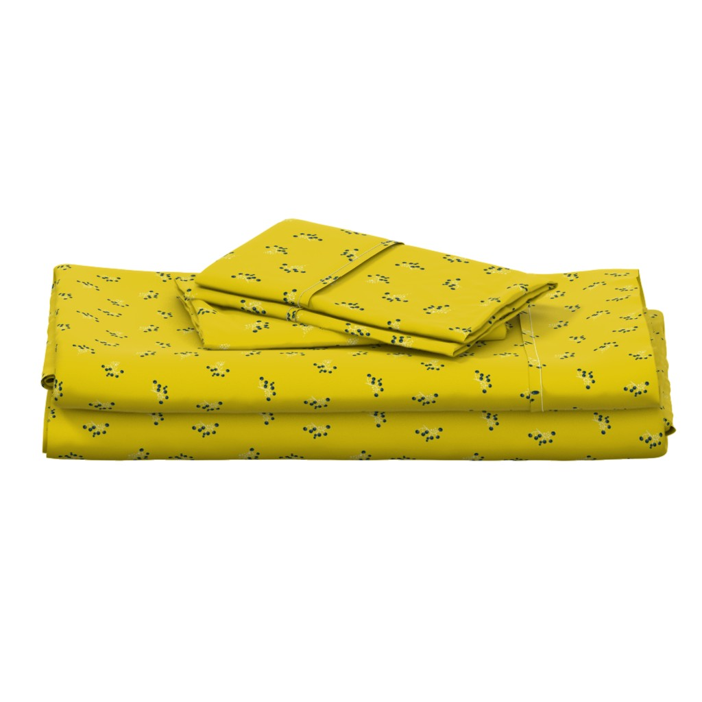 Langshan Full Bed Set featuring Berries - Mustard with Navy and White by hettiejoan