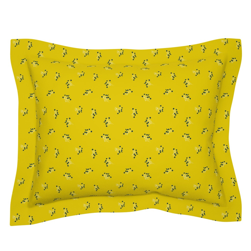 Sebright Pillow Sham featuring Berries - Mustard with Navy and White by hettiejoan