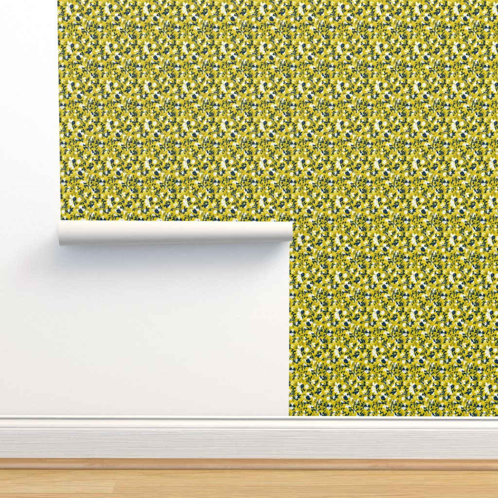 Isobar Durable Wallpaper featuring Floral - Mustard with Navy and White by hettiejoan
