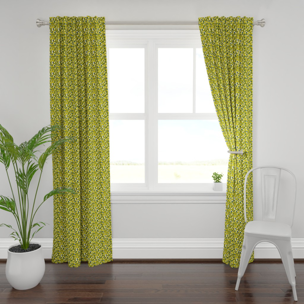 Plymouth Curtain Panel featuring Floral - Mustard with Navy and White by hettiejoan