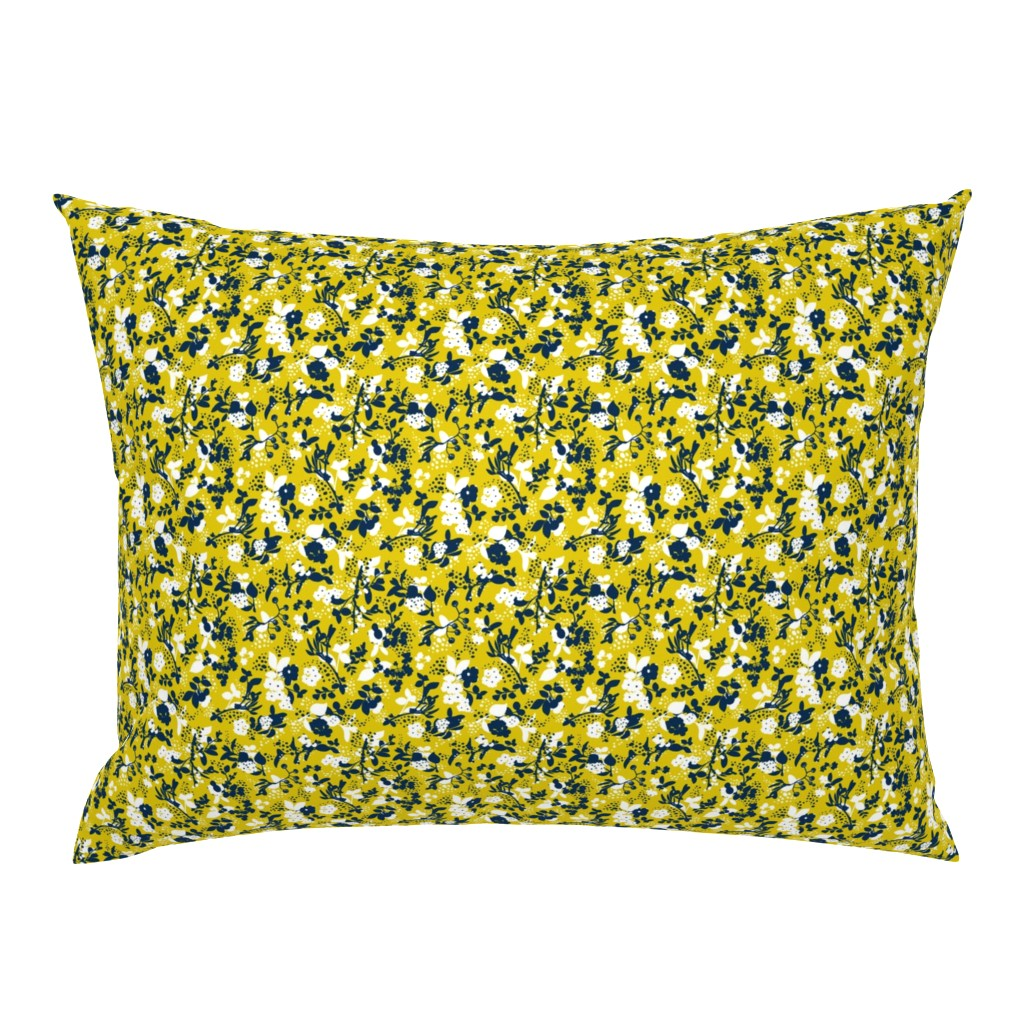 Campine Pillow Sham featuring Floral - Mustard with Navy and White by hettiejoan