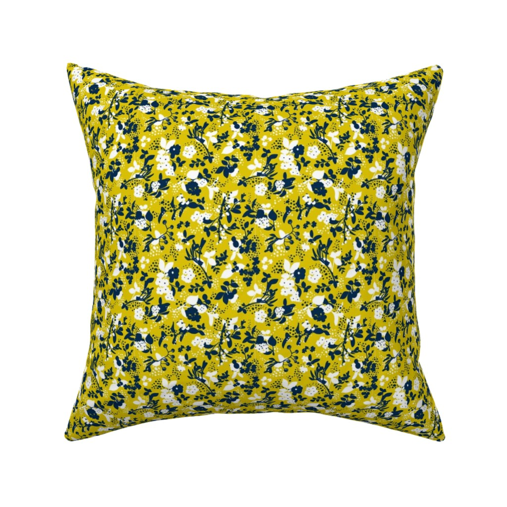 Catalan Throw Pillow featuring Floral - Mustard with Navy and White by hettiejoan