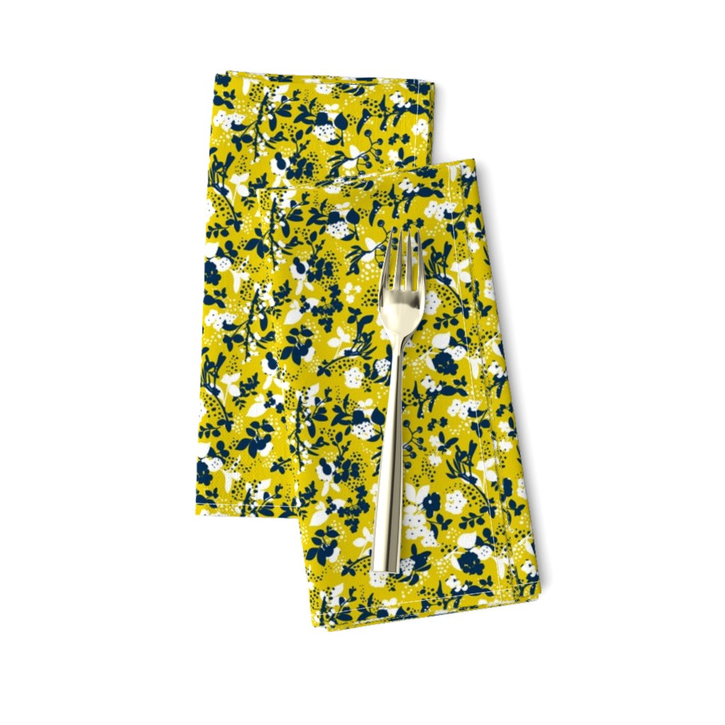 Amarela Dinner Napkins featuring Floral - Mustard with Navy and White by hettiejoan