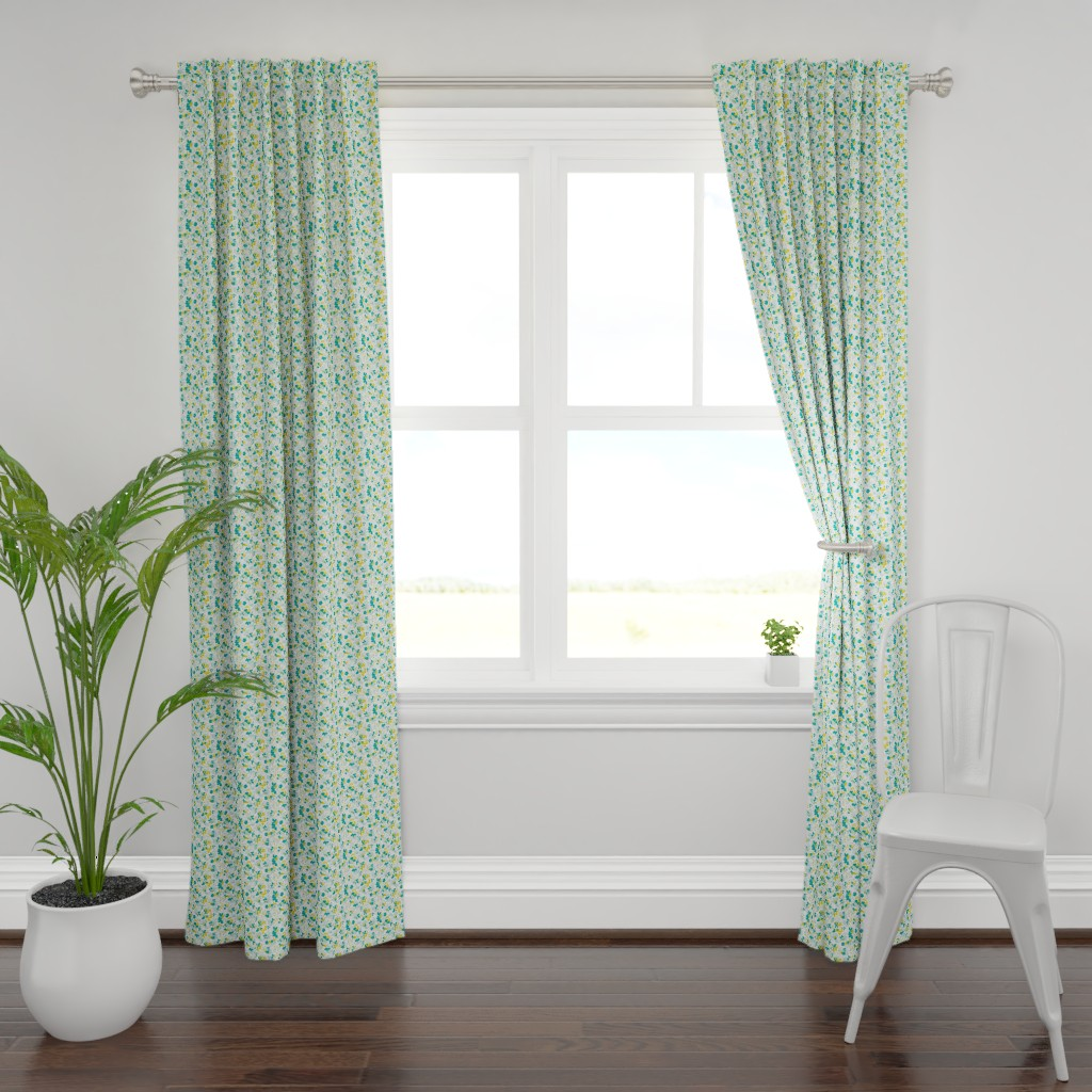 Plymouth Curtain Panel featuring Floral - White with Teal, Mint, and Mustard by hettiejoan