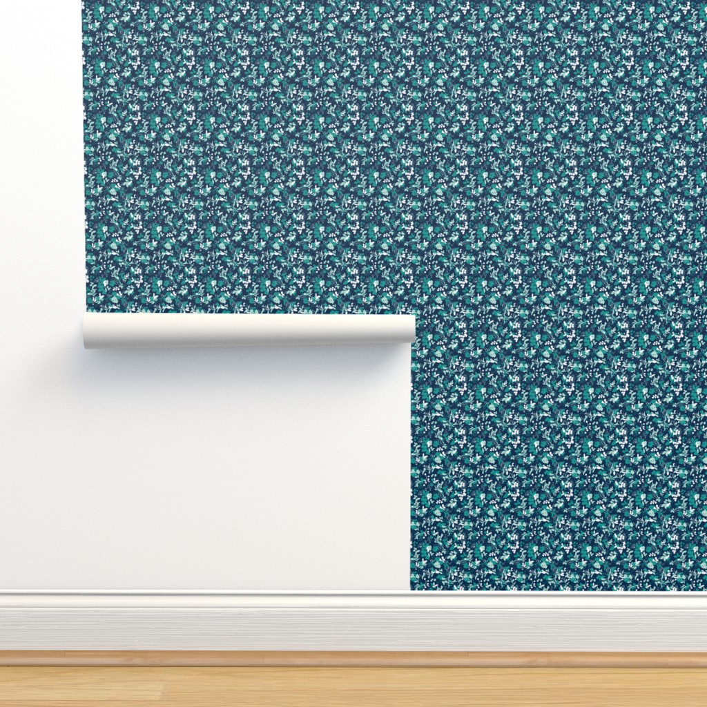 Isobar Durable Wallpaper featuring Floral - Navy with Teal, Mint, and White by hettiejoan