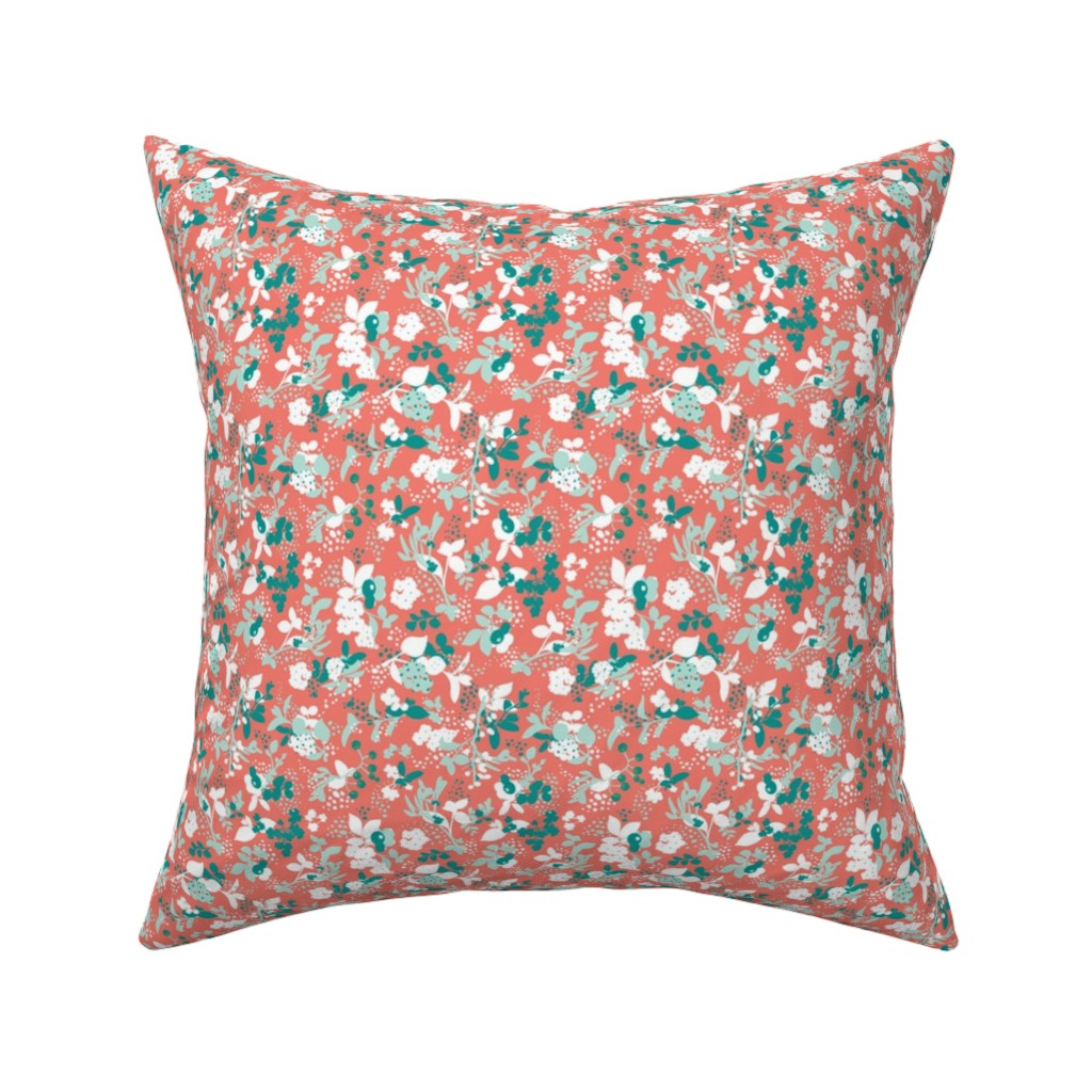 Catalan Throw Pillow featuring Floral - Coral with Teal, Mint, and White by hettiejoan