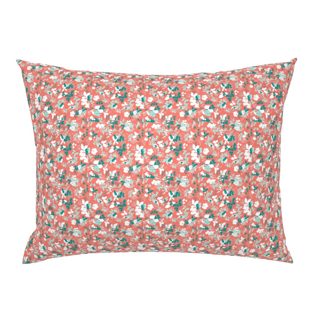 Campine Pillow Sham featuring Floral - Coral with Teal, Mint, and White by hettiejoan