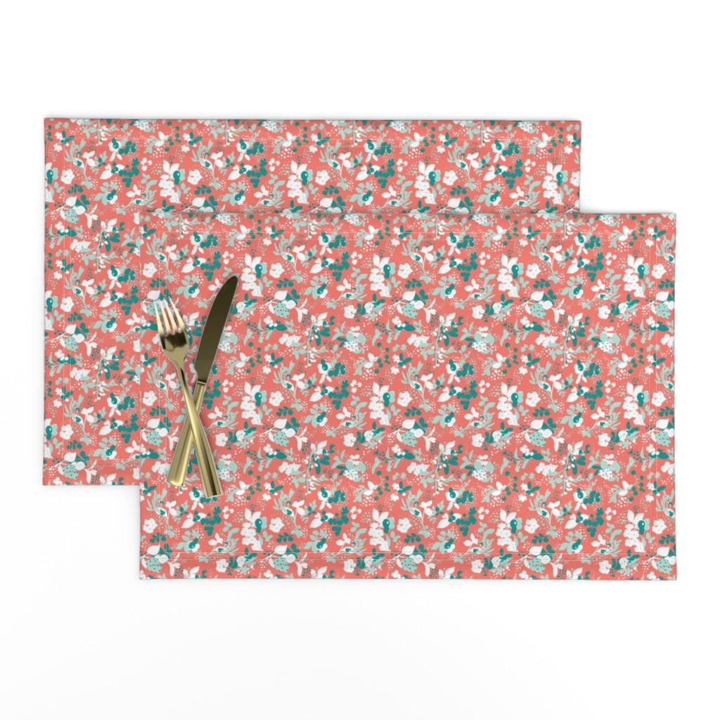 Lamona Cloth Placemats featuring Floral - Coral with Teal, Mint, and White by hettiejoan