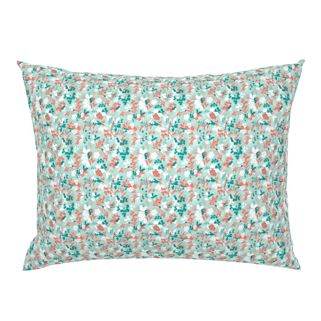 Campine Pillow Sham featuring Floral - Mint with Coral, Teal, and White by hettiejoan