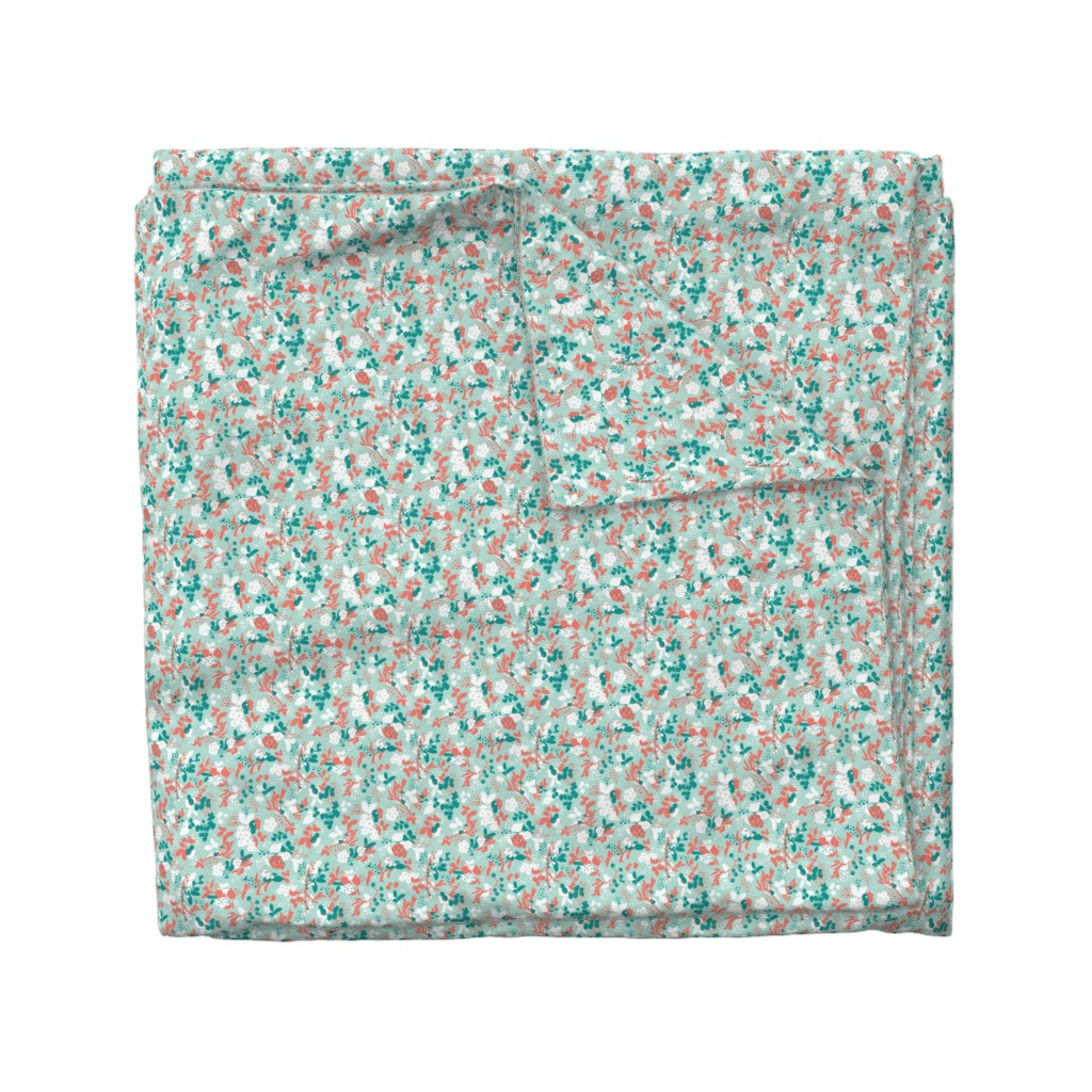 Wyandotte Duvet Cover featuring Floral - Mint with Coral, Teal, and White by hettiejoan