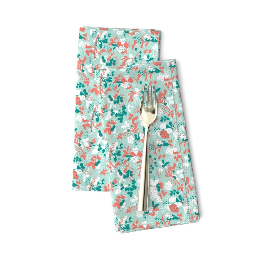 Amarela Dinner Napkins featuring Floral - Mint with Coral, Teal, and White by hettiejoan