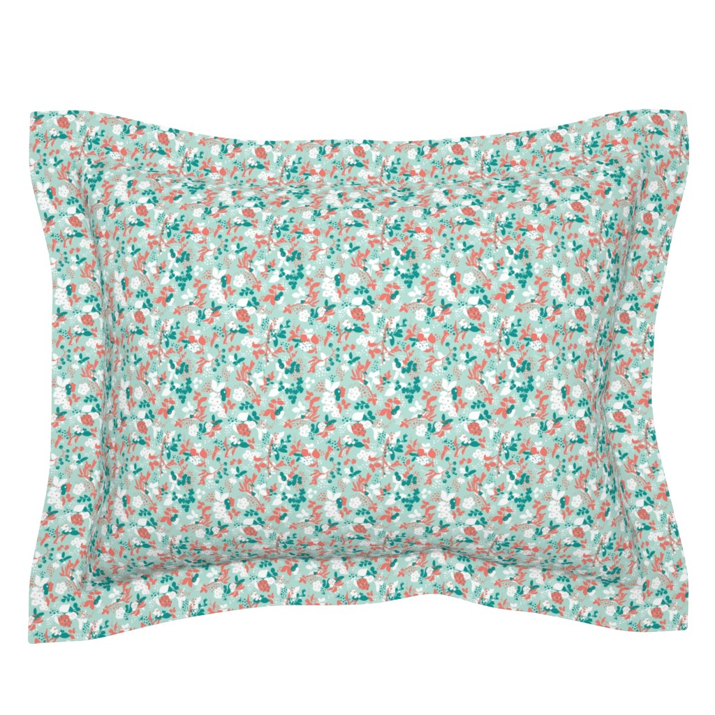 Sebright Pillow Sham featuring Floral - Mint with Coral, Teal, and White by hettiejoan