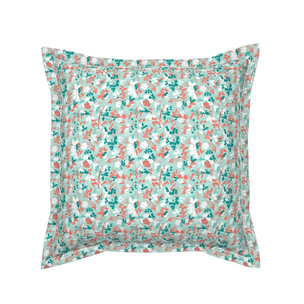 Serama Throw Pillow featuring Floral - Mint with Coral, Teal, and White by hettiejoan