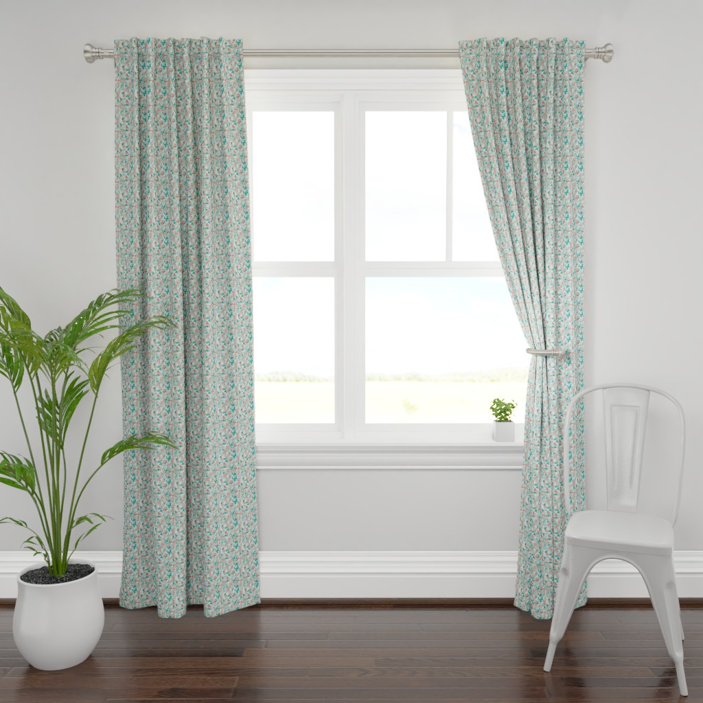 Plymouth Curtain Panel featuring Floral - Mint with Coral, Teal, and White by hettiejoan