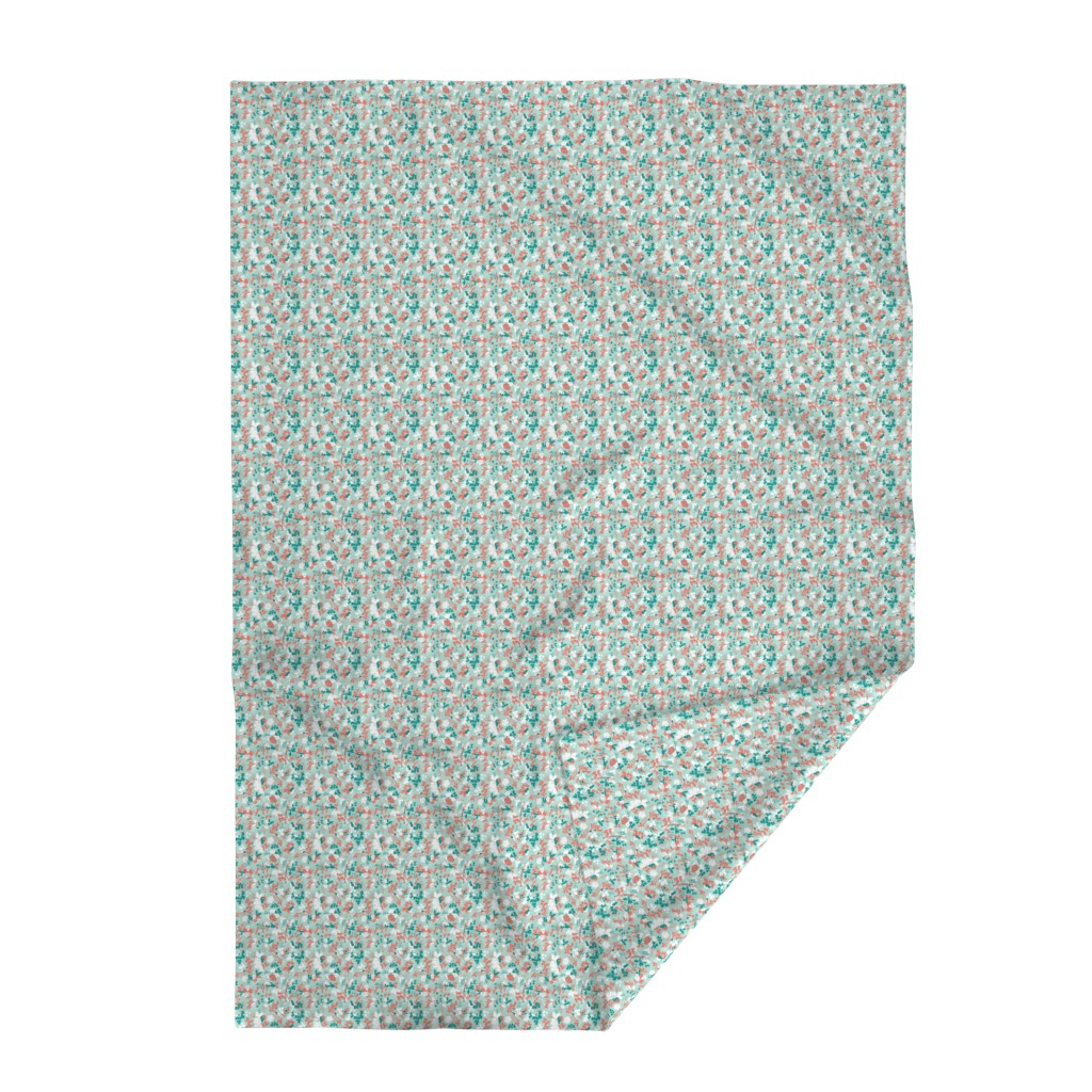 Lakenvelder Throw Blanket featuring Floral - Mint with Coral, Teal, and White by hettiejoan