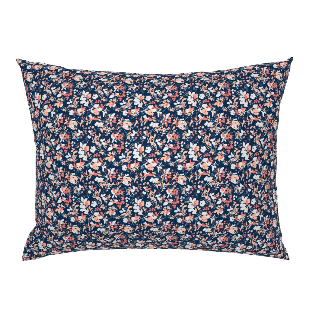 Campine Pillow Sham featuring Floral - Navy with Coral, Blush, and White by hettiejoan