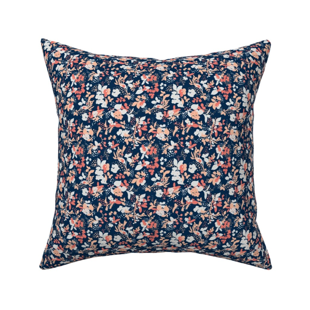 Catalan Throw Pillow featuring Floral - Navy with Coral, Blush, and White by hettiejoan