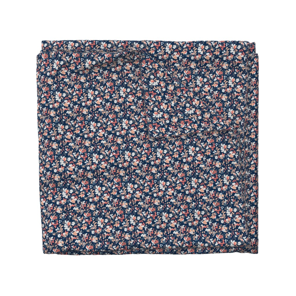 Wyandotte Duvet Cover featuring Floral - Navy with Coral, Blush, and White by hettiejoan