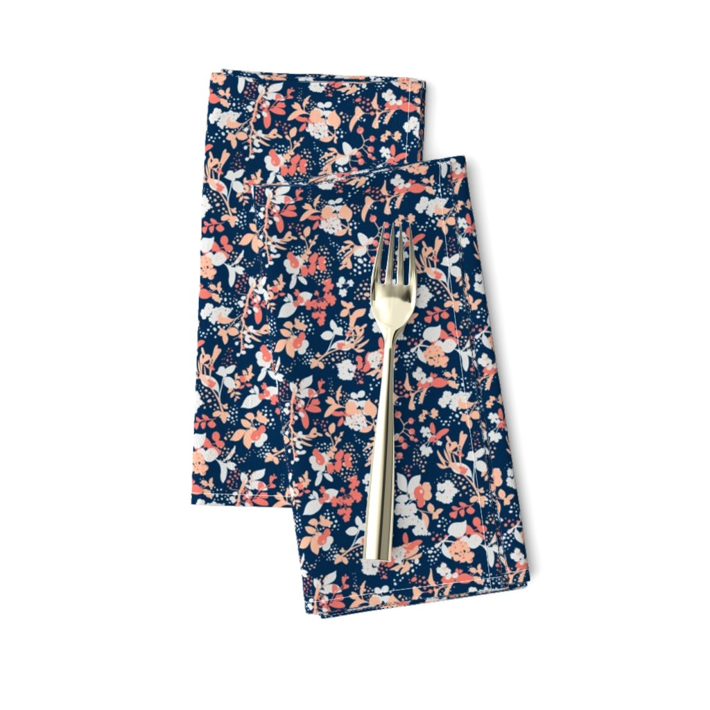 Amarela Dinner Napkins featuring Floral - Navy with Coral, Blush, and White by hettiejoan