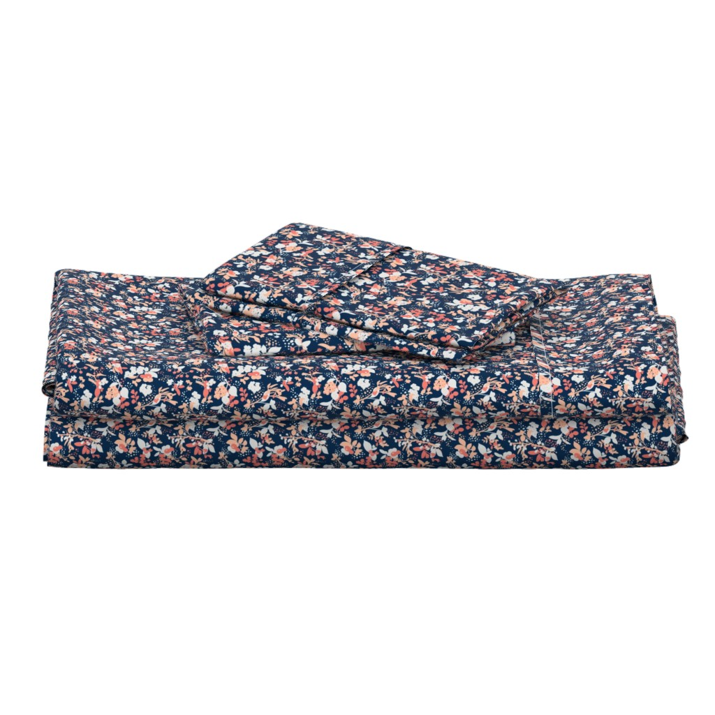 Langshan Full Bed Set featuring Floral - Navy with Coral, Blush, and White by hettiejoan