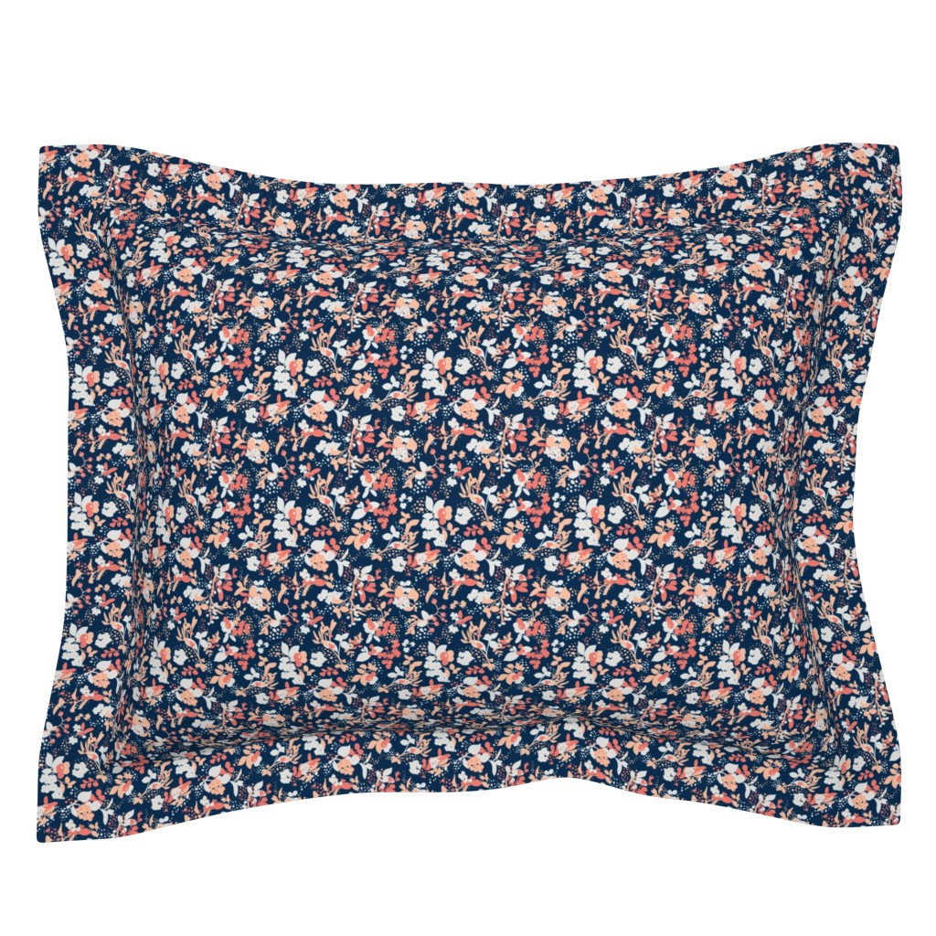 Sebright Pillow Sham featuring Floral - Navy with Coral, Blush, and White by hettiejoan