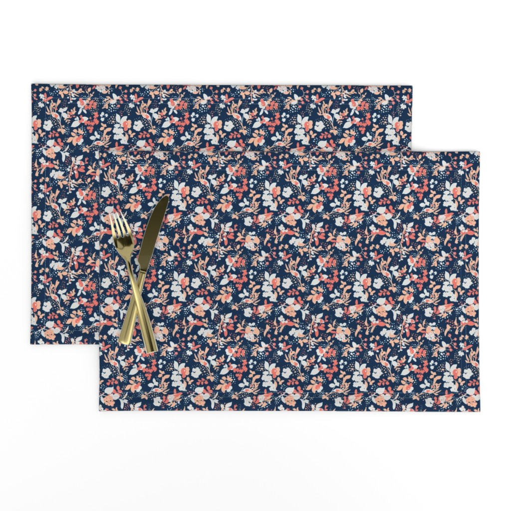 Lamona Cloth Placemats featuring Floral - Navy with Coral, Blush, and White by hettiejoan