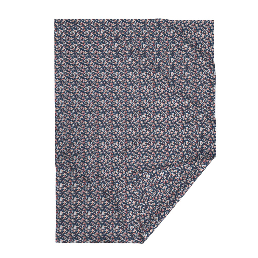 Lakenvelder Throw Blanket featuring Floral - Navy with Coral, Blush, and White by hettiejoan