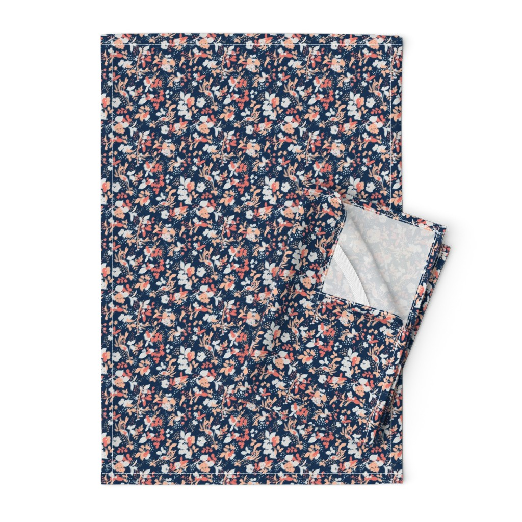 Orpington Tea Towels featuring Floral - Navy with Coral, Blush, and White by hettiejoan