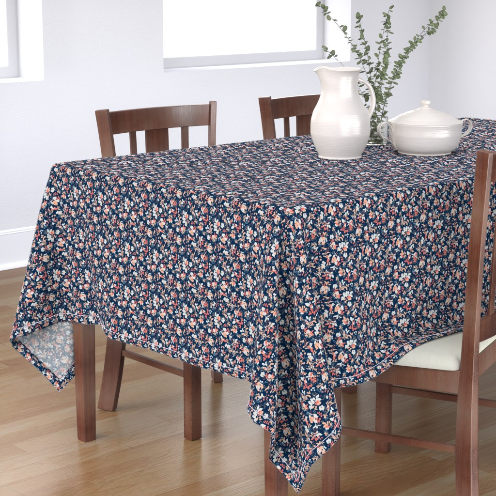Bantam Rectangular Tablecloth featuring Floral - Navy with Coral, Blush, and White by hettiejoan