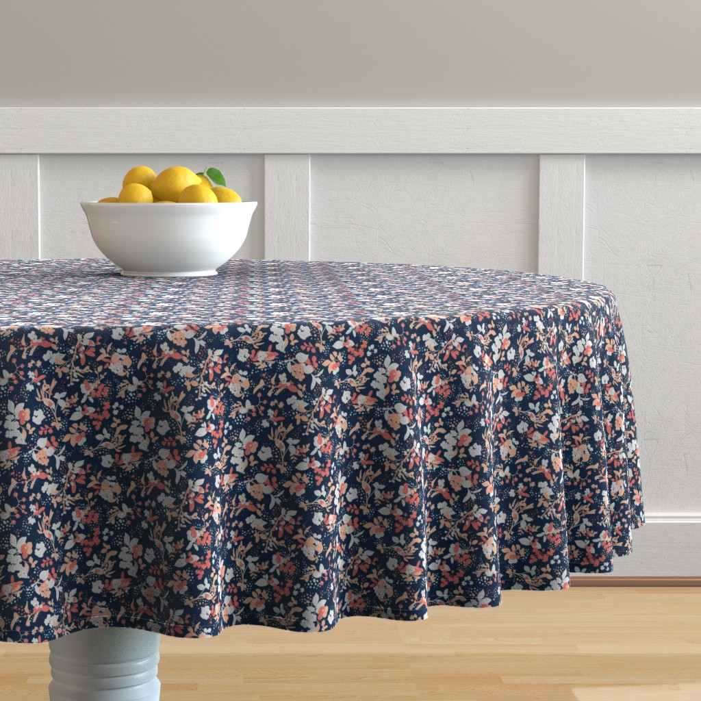 Malay Round Tablecloth featuring Floral - Navy with Coral, Blush, and White by hettiejoan